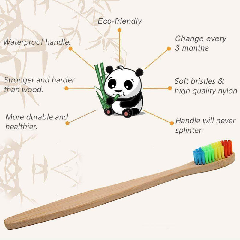 GoGreen GoGreen 10-pc New design mixed color bamboo toothbrush Eco Friendly wooden Tooth Brush Soft bristle Tip Charcoal adults oral care toothbrush OODS0000487