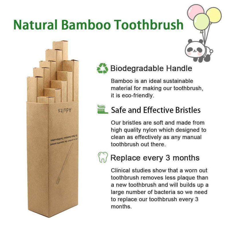 GoGreen GoGreen 10-Pcs Natural Bamboo Toothbrush, Charcoal-Infused Soft Hair Bristles, Eco-friendly Oral Care Tool OODS0000487