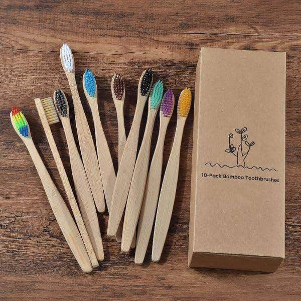 GoGreen New design mixed color bamboo toothbrush Eco Friendly wooden Tooth Brush Soft bristle Tip Charcoal adults oral care toothbrush - Ooala