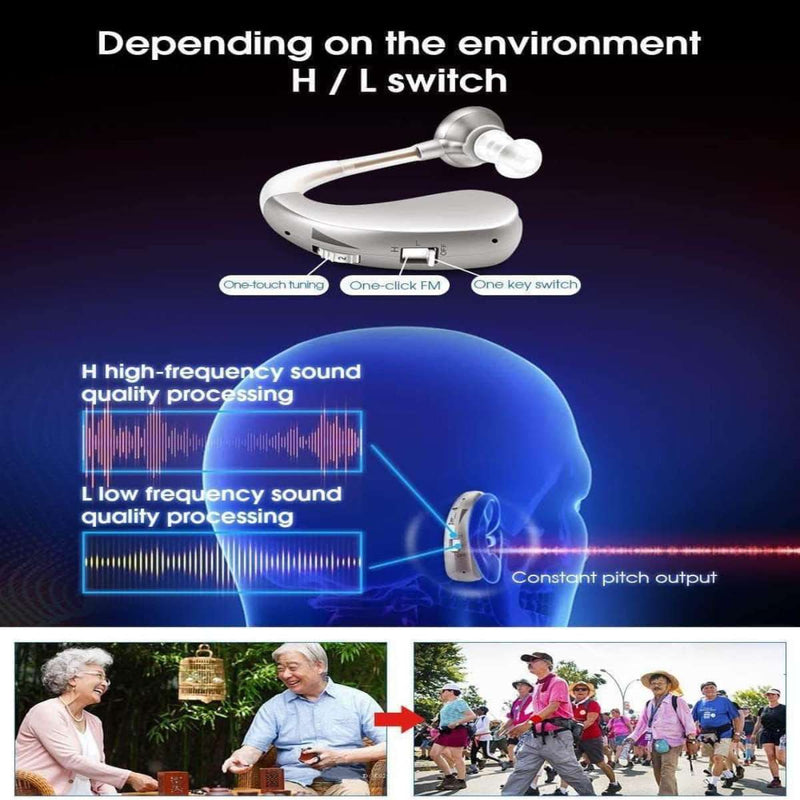 HelpValve Rechargeable Mini Digital Hearing Aid Sound Amplifier, Wireless Ear Aids for Moderate to Severe Loss