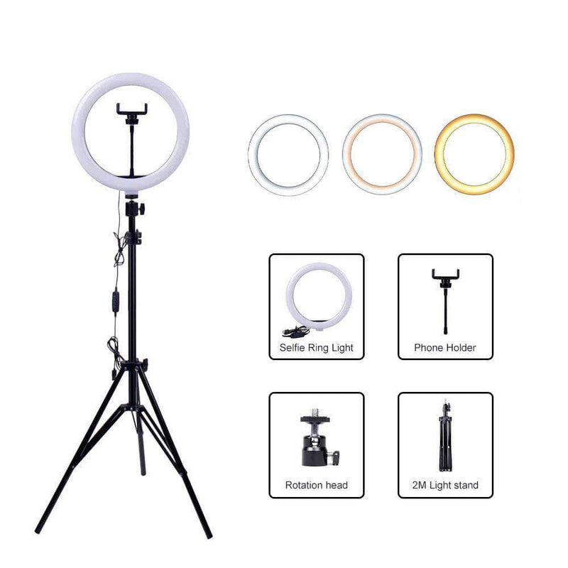 "InnerCircle 10"" Selfie Ring Light with 1.6 Meter Adjustable Tripod Stand & Phone Holder for Live Stream, Makeup, Video and Photography - Ooala"