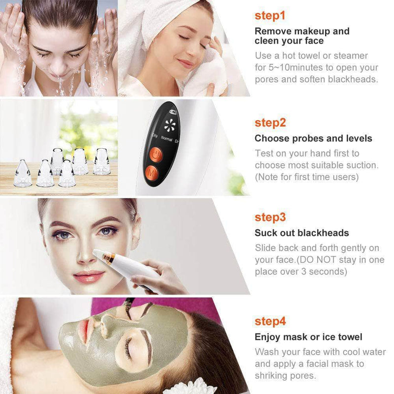 Kare Kale USB Rechargeable Face Pore Vacuum Cleaner w/ 6 Suction Head OODS0001116