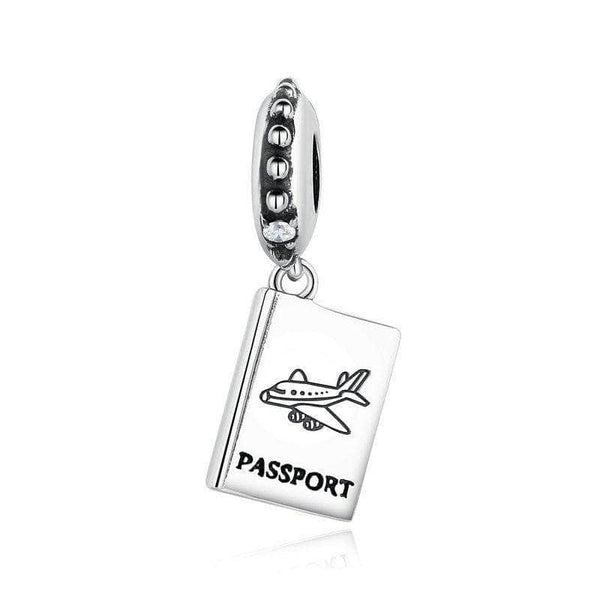 Lacic Lacic 925 Sterling Silver Passport Charm with Clear Crystal Travel Dangle Charm 4731588-weus085