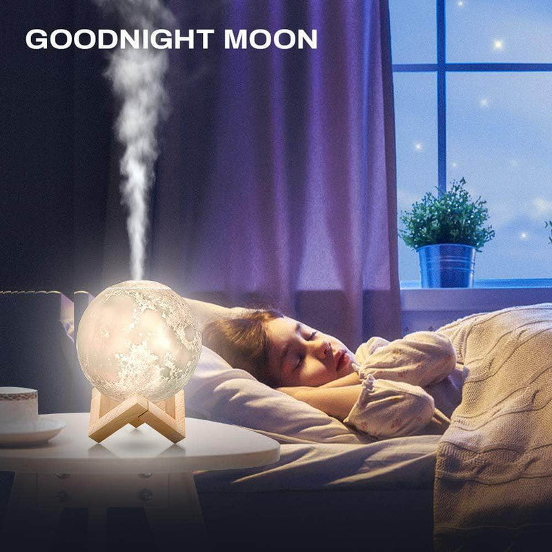LeafHaze LeafHaze 3D Ultrasonic USB Moon Humidifier with LED Night Lamp OODS0000593