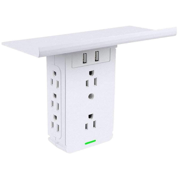 LPS Multiple Socket Shelf Wall Outlet Extender and Surge Protector | 6 AC Outlets, 2 USB Ports - Ooala