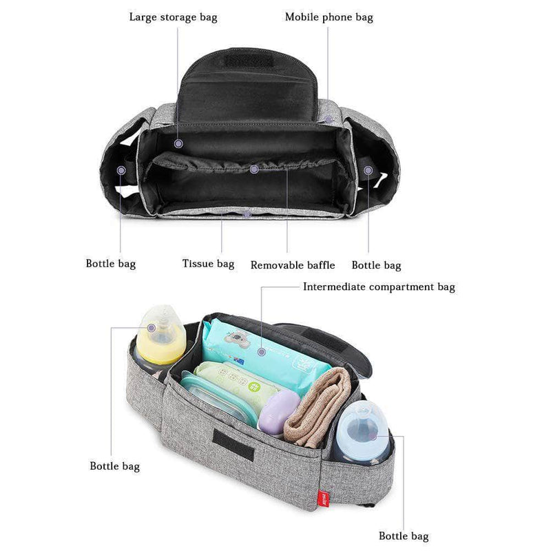 Muar Muar Stroller Organizer Multifunctional Adjustable Baby Stroller Storage Bag