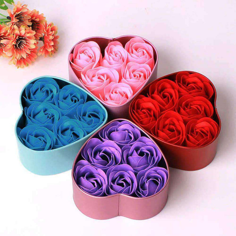 Ooala Flower Soap Rose Soap 6Pcs Heart Scented Bath Body Petal Rose Flower Soap Case Wedding Decoration Gift Festival Box