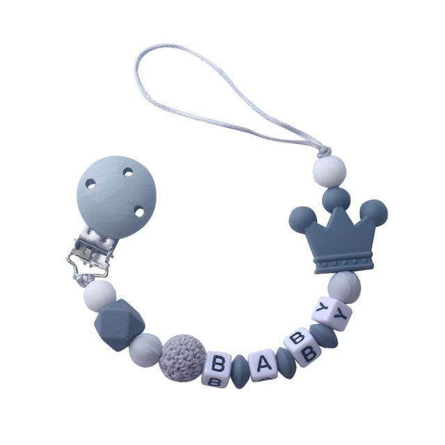 Ooala Gray 1pcs Pink Silicone Personalised Name Baby Pacifier Clips Crochet Beads Silicone Crown Pacifier Chain Holder Baby Shower Gift OODS0000970