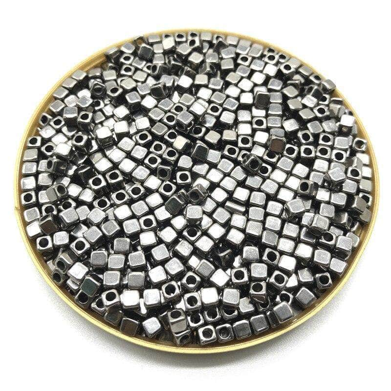 Ooala Gum Black Pumpbits 200Pcs 4mm CCB Acrylic Plated Square Seed Space Beads for DIY Jewelry Making Supplies 31994044-03