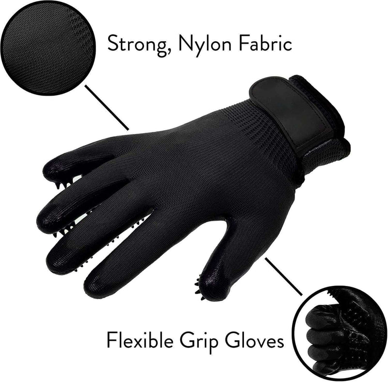 Grapevine Pet Grooming Gloves Shedding, Bathing, & Hair Remover Gloves - for Cats, Dogs, and Horses - Ooala