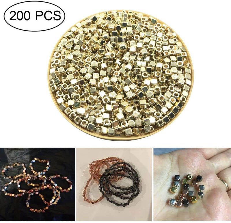 Ooala Pumpbits 200Pcs 4mm CCB Acrylic Plated Square Seed Space Beads for DIY Jewelry Making Supplies