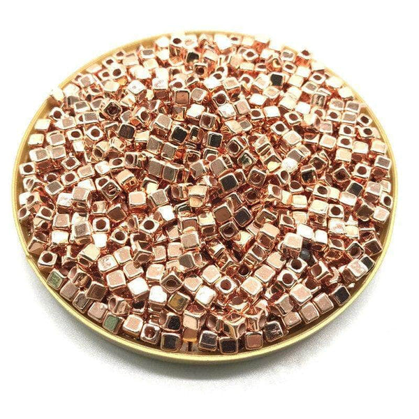 Ooala Rose Gold Pumpbits 200Pcs 4mm CCB Acrylic Plated Square Seed Space Beads for DIY Jewelry Making Supplies 31994044-06