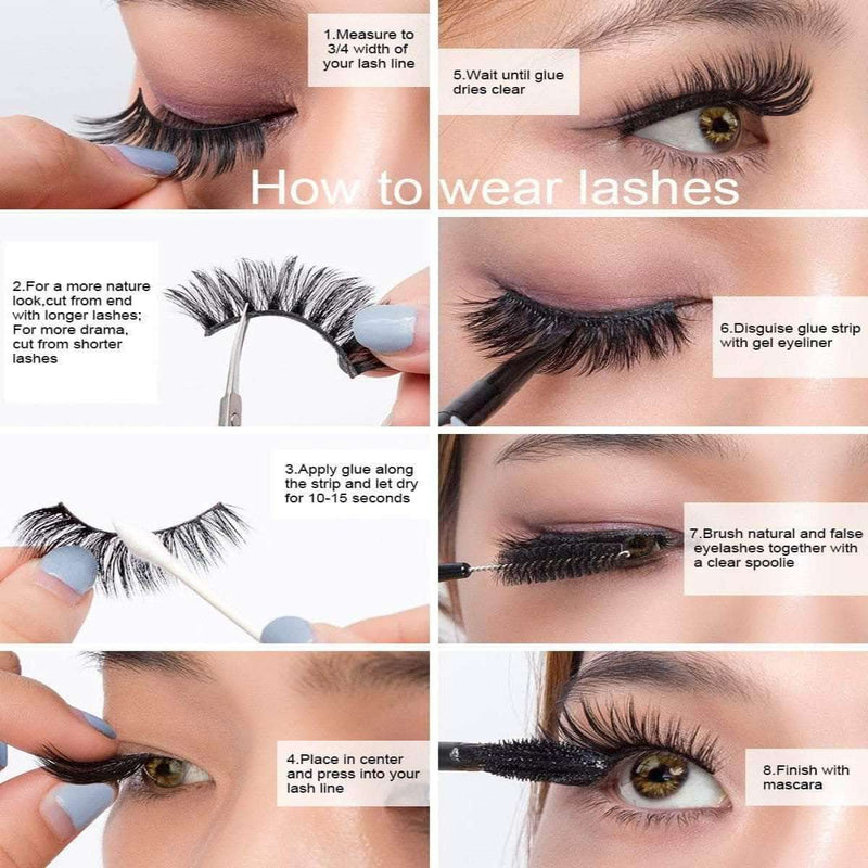 Velvery High Volume 3D False Eyelashes, Long and Thick, 5 Pairs
