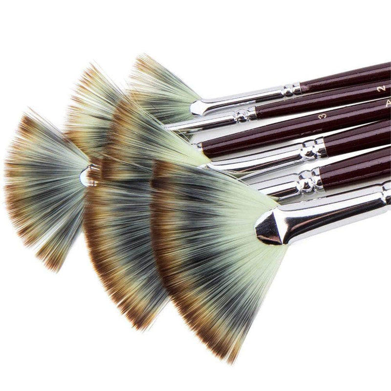 Piccassia Piccassia 6-pcs Fan Shaped Nylon Hair Paint Brush OODS0000843