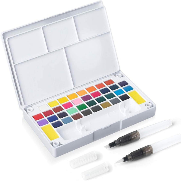 Pixeron Portable Watercolor Paint Set, 36 Assorted Colors for Artists, Beginners, and Students