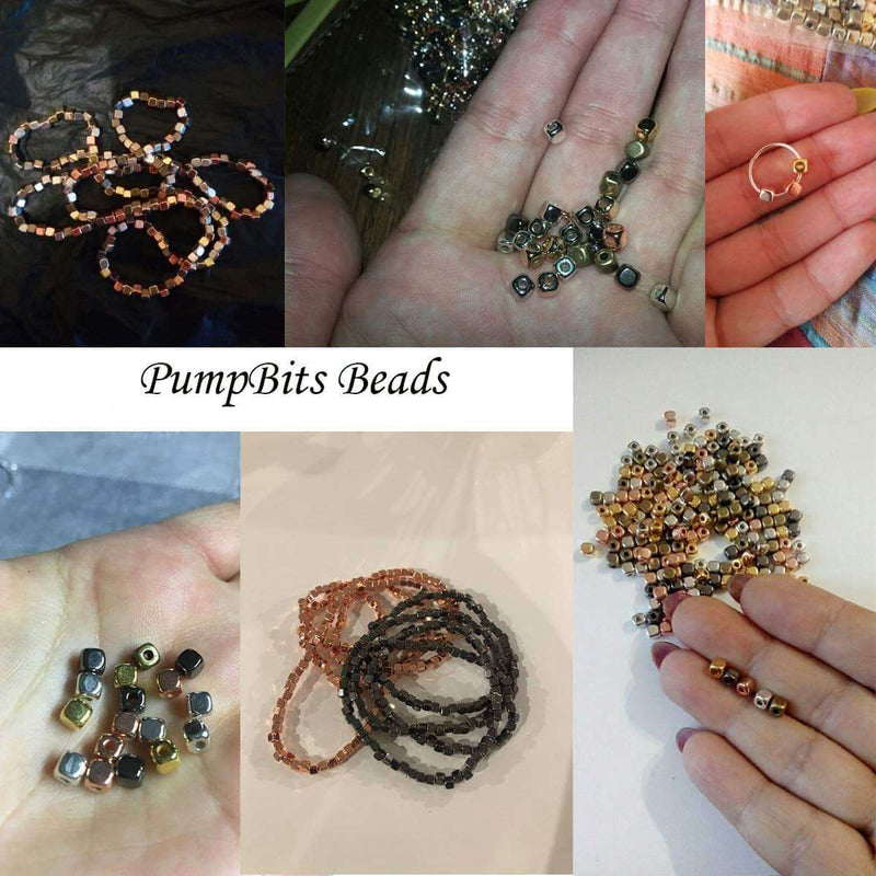 PumpBits PumpBits 200Pcs 4mm CCB Acrylic Plated Square Seed Space Beads for DIY Jewelry Making Supplies