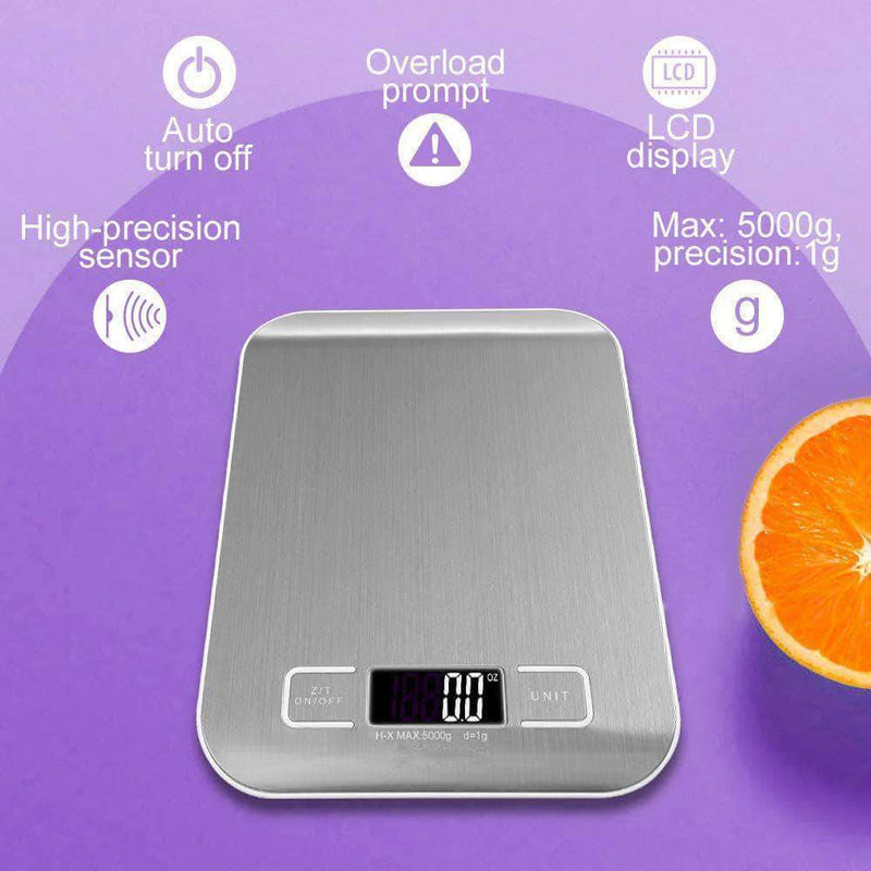 Scaled Digital Kitchen Food Scale 5kg/11lb. Stainless Steel with LCD Display - Ooala