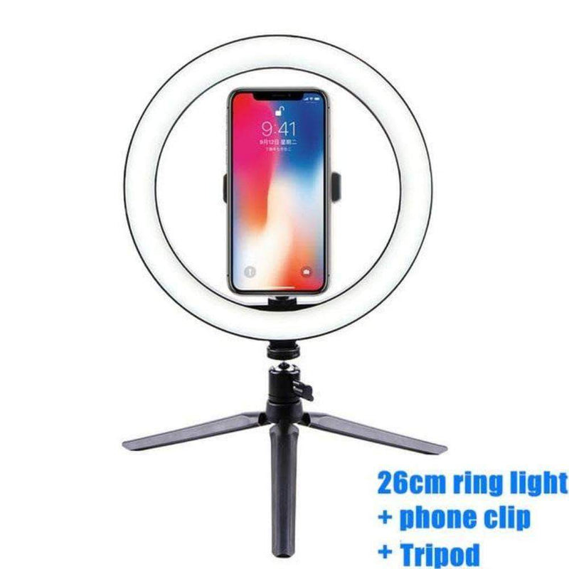 Tippy LED Selfie Ring Light | 26cm Dimmable Photography Camera Phone Ring Lamp with Tripod - Ooala