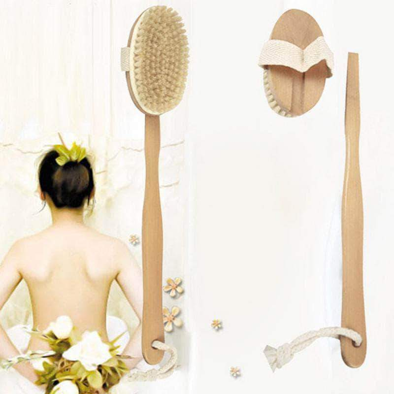 Vaintage Bath Body Brush Natural Bristles Back Scrubber With Long Wooden Handle For Exfoliating - Ooala