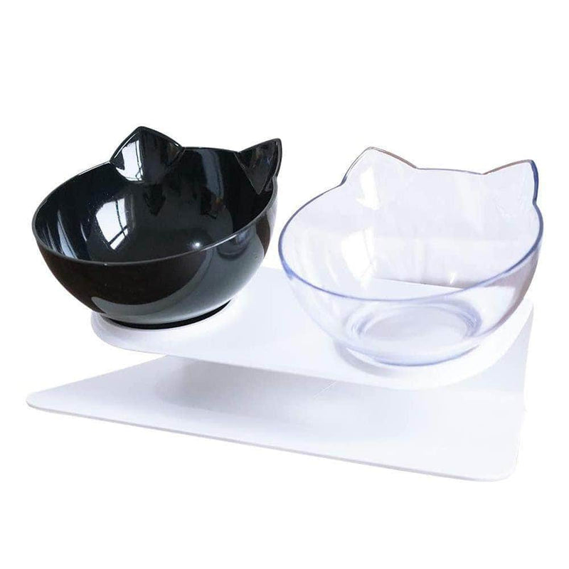 Vetzie Black + Transparent Vetzie 15°Tilted Platform Double Pet Bowl Feeder for Cats and Small Dogs OODS0000876