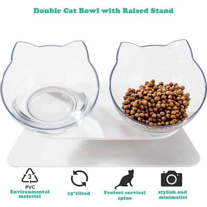 Vetzie Vetzie 15°Tilted Platform Double Pet Bowl Feeder for Cats and Small Dogs