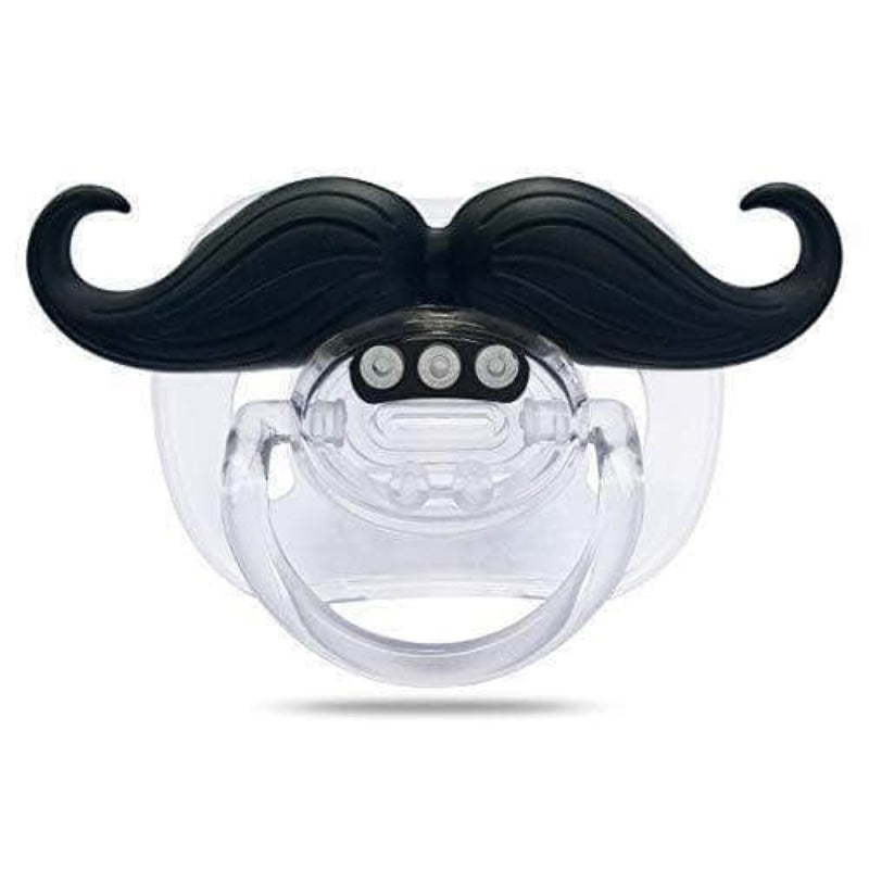 Viaxos Mustache Baby Pacifier | Silicone Nipple Teething Toy | Black