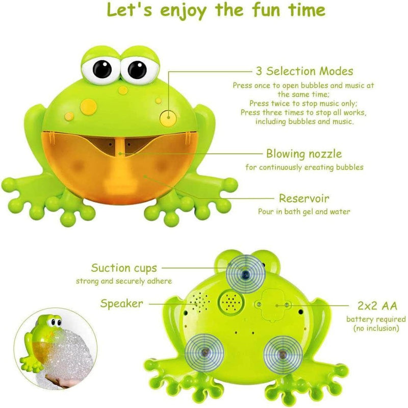 Yodie Frog Bath Toy Bubble Maker Machine w/ 12 Soft Melodies