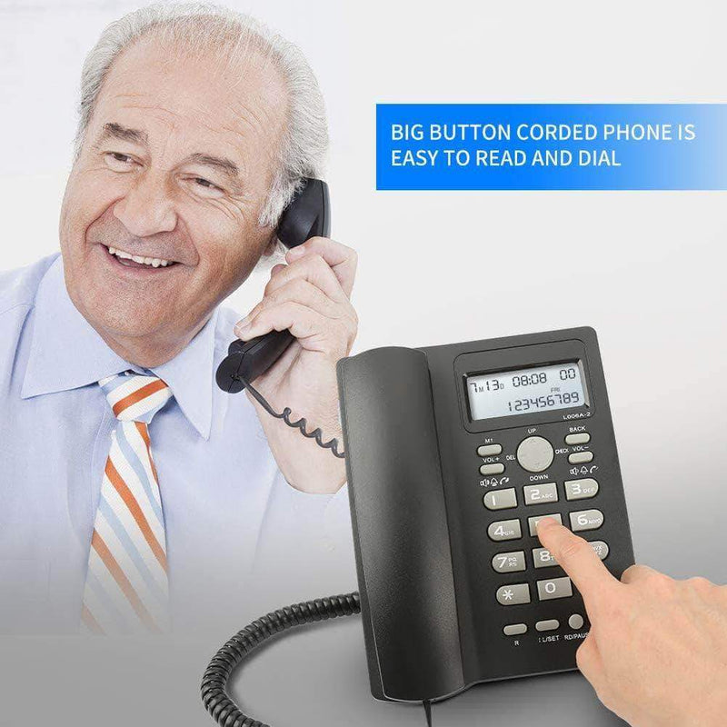 Zlymo Corded Telephone with Caller Number Display | DTMF/FSK Dual System Landline - Ooala
