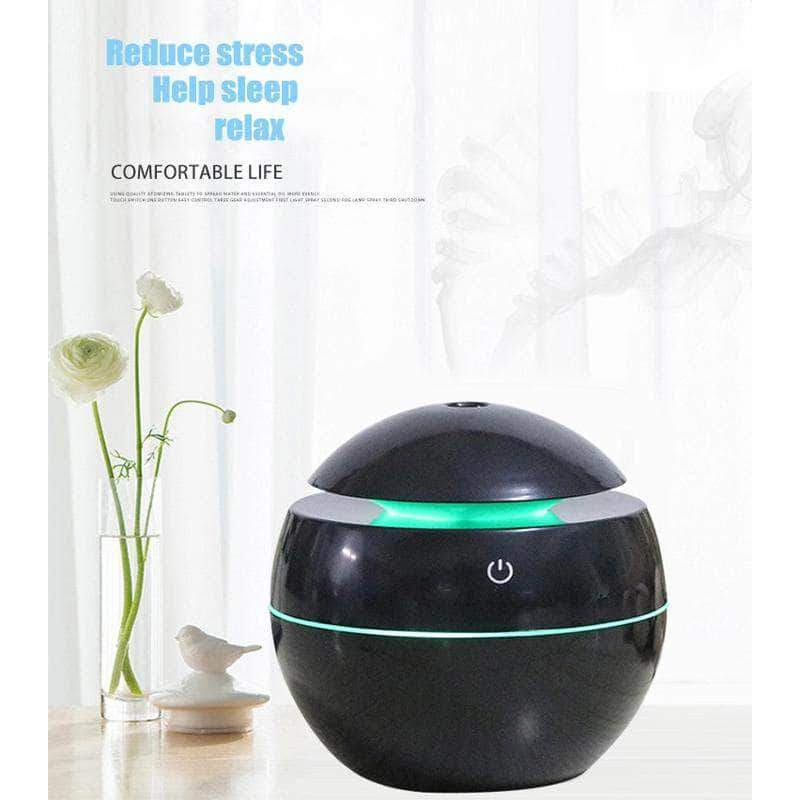 ZirCon USB Aroma Humidifier, Essential Oil Diffuser with 7 Color Change LED Night Light, Black - Ooala