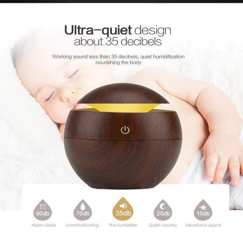 ZirCon USB Aroma Humidifier, Essential Oil Diffuser with 7 Color Change LED Night Light, Dark Wood - Ooala