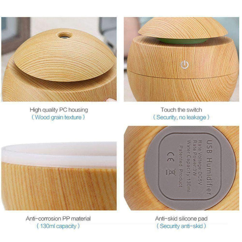 ZirCon USB Aroma Humidifier, Essential Oil Diffuser with 7 Color Change LED Night Light, Light Wood - Ooala