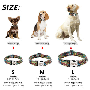 Personalised Dog Collar Nylon Adjustable Engraved For Small & Large Dogs