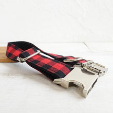 Load image into Gallery viewer, The Red Black Plaid Personalised Dog Collar & Leash Set Handmade - Dog Nation