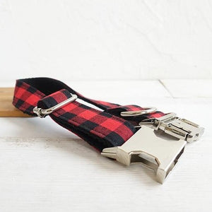 The Red Black Plaid Personalised Dog Collar Handmade Laser Engraved - Dog Nation