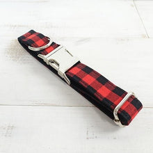 Load image into Gallery viewer, The Red Black Plaid Personalised Dog Collar Handmade Laser Engraved - Dog Nation