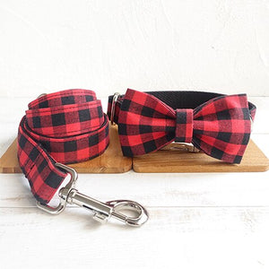 The Red Black Plaid Personalised Dog Collar & Leash Set Handmade - Dog Nation