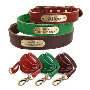 Sirius Genuine Leather Dog Collar and Leash Set Personalised - Dog Nation