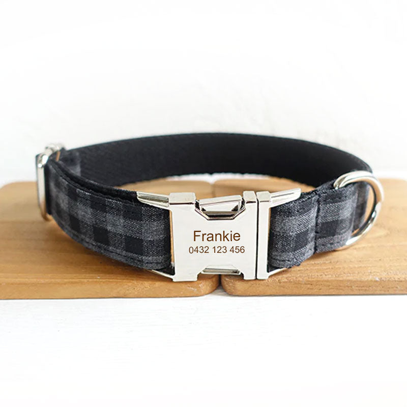 The Black Plaid Personalised Dog Collar Handmade Laser Engraved - Dog Nation