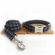 Load image into Gallery viewer, The Black Plaid Personalised Dog Collar Leash Set Handmade Laser Engraved - Dog Nation