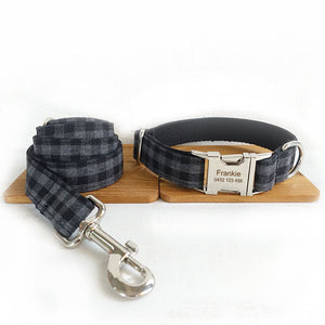 The Black Plaid Personalised Dog Collar Leash Set Handmade Laser Engraved - Dog Nation