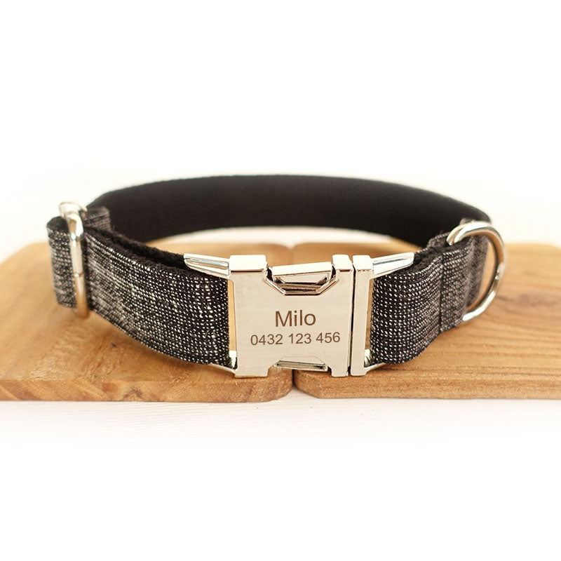The Black Suit Personalised Dog Collar Handmade Laser Engraved - Dog Nation