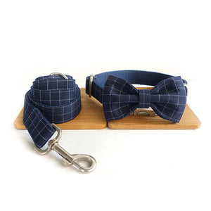 The Deep Blue Plaid Personalised Dog Collar & Leash Set Handmade Laser Engraved - Dog Nation