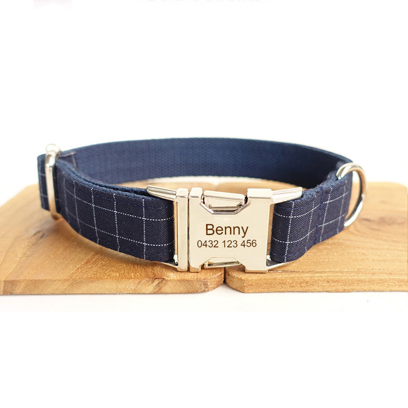 The Deep Blue Personalised Dog Collar Handmade Laser Engraved - Dog Nation