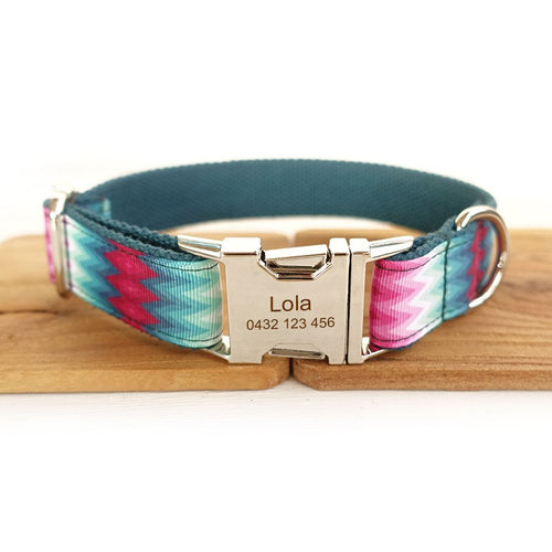 The Green Peacock Personalised Dog Collar Handmade Laser Engraved - Dog Nation