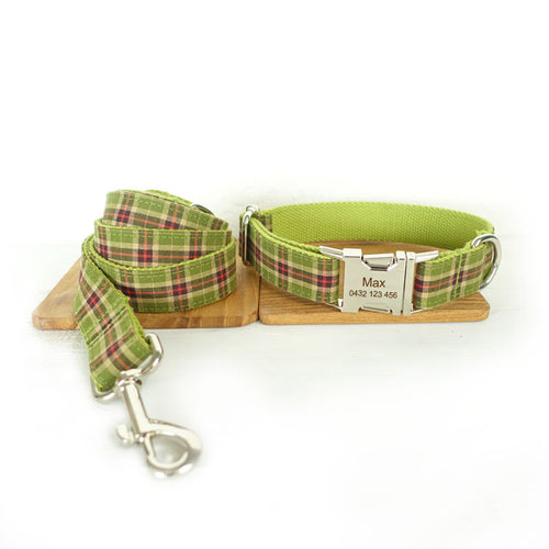 The Green Plaid Personalised Dog Collar & Leash Set Handmade Laser Engraved - Dog Nation