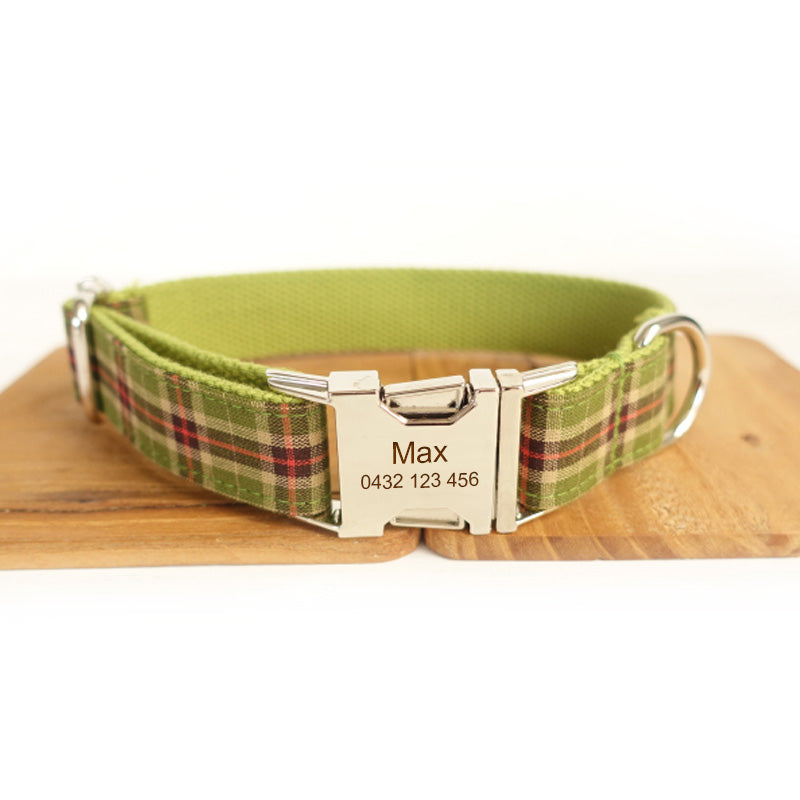 The Green Plaid Personalised Dog Collar Handmade Laser Engraved - Dog Nation