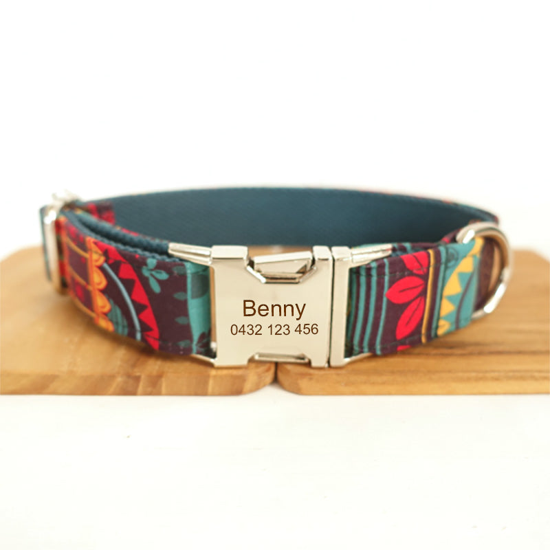 The Maya Personalised Dog Collar Handmade Laser Engraved - Dog Nation