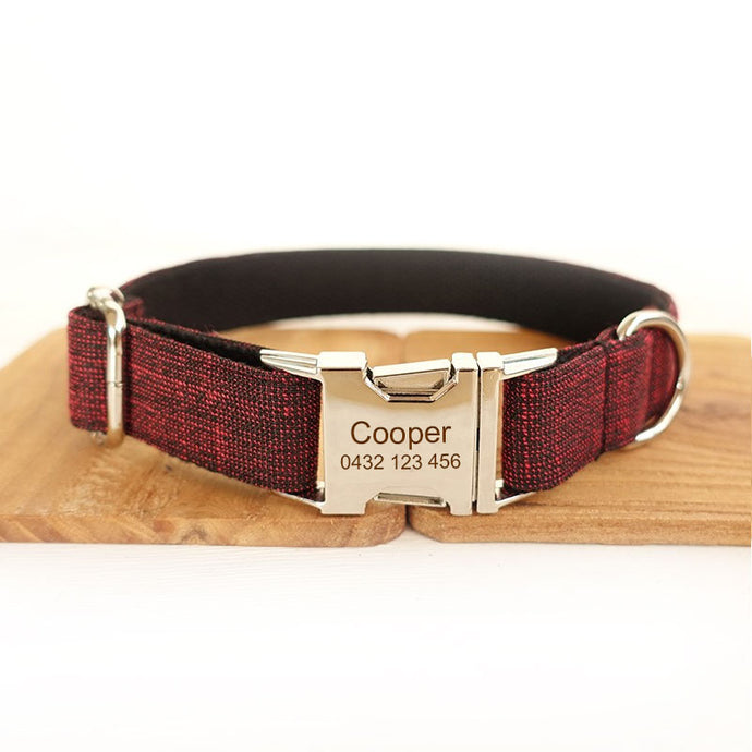 The Red Suit Personalised Dog Collar Handmade Laser Engraved - Dog Nation