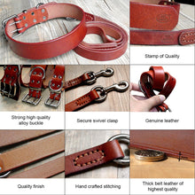 Load image into Gallery viewer, Theo Heavy Duty Genuine Leather Dog Collar Leash Set - Dog Nation