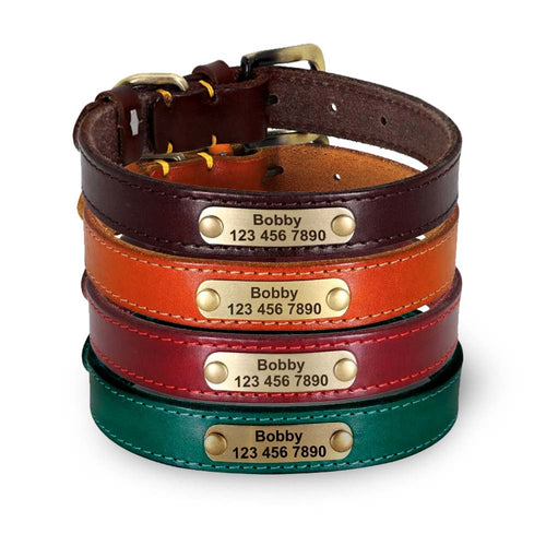 Phoenix Genuine Leather Dog Collar Personalised - Dog Nation